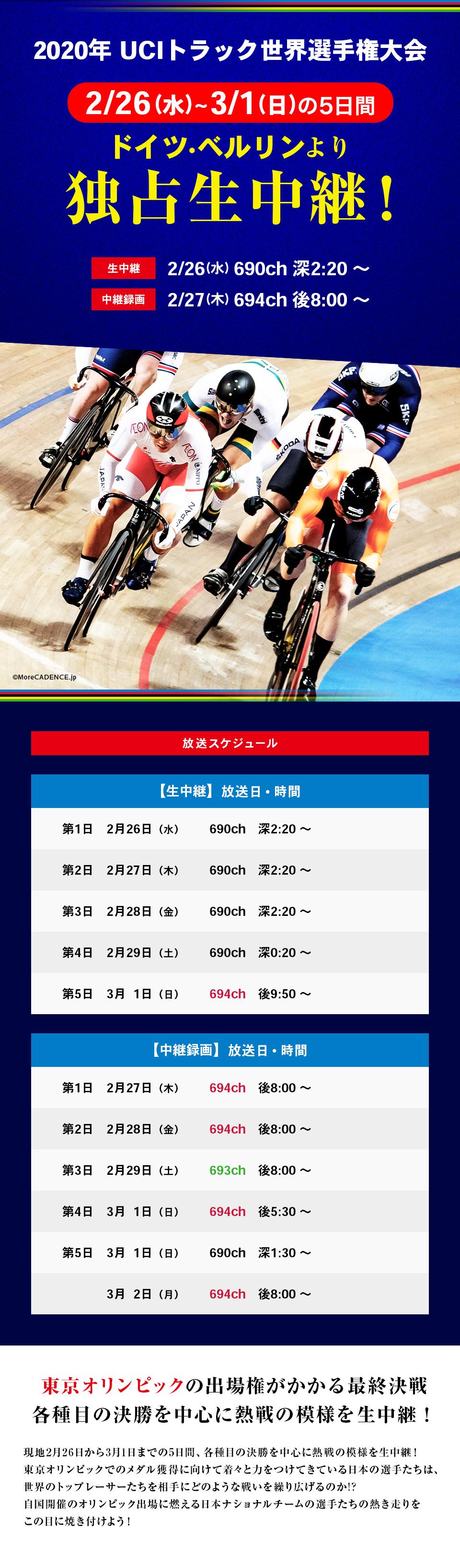 2020年UCIトラック世界選手権大会   競輪専門TV スピードチャンネル